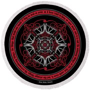 Celtic Vampire Bat Mandala Round Beach Towel