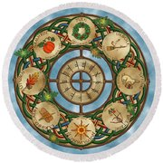 Celtic Wheel Of The Year Round Beach Towel