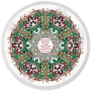 Celtic Winter Fairy Mandala Round Beach Towel