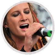 Round Beach Towel featuring the photograph Celtica's Josy Svajda by Mike Martin