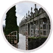 Cemetery In A Small Village In Galicia Round Beach Towel