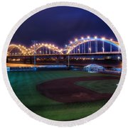 Centennial Bridge And Modern Woodmen Park Round Beach Towel
