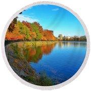 Central Park Autumn Landscape Round Beach Towel