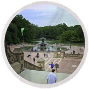 Central Park - Bethesda Fountain Round Beach Towel