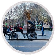 Central Park Horse Carriage Station Panorama Round Beach Towel