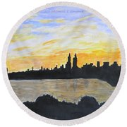 Central Park In Newyork Round Beach Towel