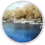 Central Park Lake Infrared Round Beach Towel
