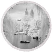 Central Park Lake-infrared Willows Round Beach Towel
