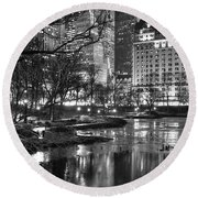 Central Park Lake Night Round Beach Towel