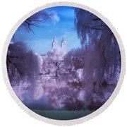 Central Park Lake Willows Color Round Beach Towel