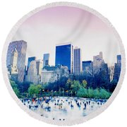 New York In Motion Round Beach Towel by Shaun Higson