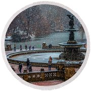 Central Park Snow Storm Round Beach Towel