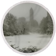 Round Beach Towel featuring the photograph Central Park Snowstorm by Chris Lord