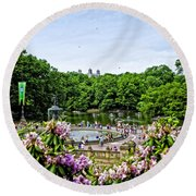Central Park Spring Round Beach Towel