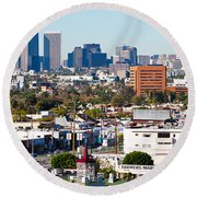 Century City, Beverly Hills, Wilshire Round Beach Towel by Panoramic Images