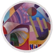 Round Beach Towel featuring the painting Cerebral Decor by Jason Williamson