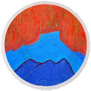 Cerro Pedernal Original Painting Sold Round Beach Towel