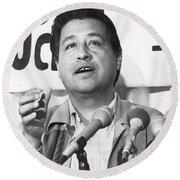Cesar Chavez Announces Boycott Round Beach Towel by Underwood Archives