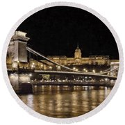 Chain Bridge And Buda Castle Winter Night Painterly Round Beach Towel