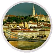Round Beach Towel featuring the photograph Chain Bridge Budapest by Ira Shander