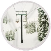 Round Beach Towel featuring the photograph Chair Lift And Snowy Evergreen Trees by Panoramic Images