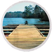 Chair On Dock By Jan Marvin Round Beach Towel