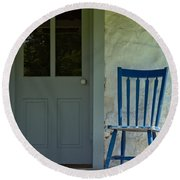 Chair On Farmhouse Porch Round Beach Towel