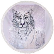 Round Beach Towel featuring the painting Chairman Of The Board by Phyllis Kaltenbach