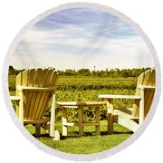 Chairs Overlooking Vineyard Round Beach Towel