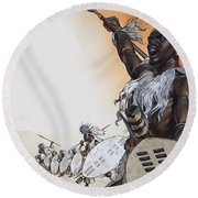 Chaka In Battle At The Head Round Beach Towel