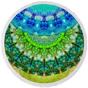 Chakra Mandala Healing Art By Sharon Cummings Round Beach Towel by Sharon Cummings