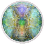 Chakra Tree Anatomy With Mercaba In Chalice Garden Round Beach Towel