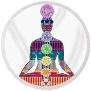 Chakra Yoga Mandala  Buy Faa Print Products Or Down Load For Self Printing Navin Joshi Rights Manage Round Beach Towel