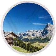 Chalet In South Tyrol Round Beach Towel by Carsten Reisinger