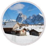 Chalets On The Alpe Di Siusi, Seiser Alm, In The Winter Snow Round Beach Towel by IPics Photography