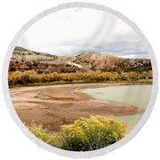 Round Beach Towel featuring the photograph Chama River Swim Spot by Roselynne Broussard