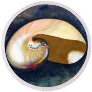 Chambered Nautilus Round Beach Towel