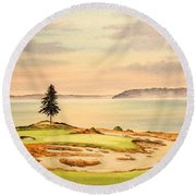 Round Beach Towel featuring the painting Chambers Bay Golf Course Hole 15 by Bill Holkham