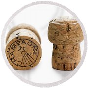 Round Beach Towel featuring the photograph Champagne Corks by Lee Avison