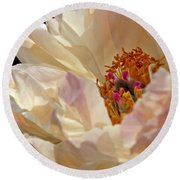Champagne Peony Round Beach Towel by Lilliana Mendez