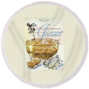 Champagne Punch And The Wedding March Round Beach Towel