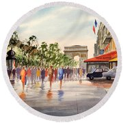 Champs Elysees And Arc De Triomphe Round Beach Towel