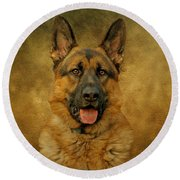 Chance - German Shepherd Round Beach Towel by Sandy Keeton