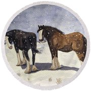 Chance Of Flurries Round Beach Towel by Angela Davies
