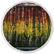 Round Beach Towel featuring the painting Change Is Good by Michael Cross