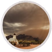 Chapel In The Storm Round Beach Towel