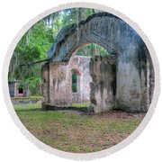 Chapel Of Ease With Tomb Round Beach Towel
