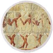 Chapel Of Hathor Hatshepsut Nubian Procession Soldiers - Digital Image -fine Art Print-ancient Egypt Round Beach Towel