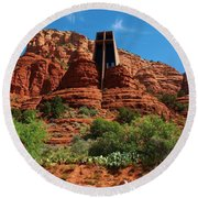 Chapel Of The Holy Cross Round Beach Towel by Dany Lison