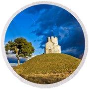 Chapel On Green Hill Nin Dalmatia Round Beach Towel